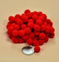 Помпоны для рукоделия красные 1 см