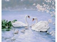 Картина по номерам GX 26874 (PK 22009) Лебединая семья Питера Моца 40*50 Эксклюзив