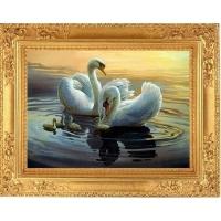 Мозаика из страз 607 26х36см Пара лебедей