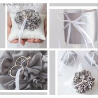 Подушечки для колец и бокалов «Сияние сердец», набор для шитья, 21х15 см серый