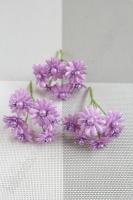 Цветы на веточке Ромашка с бусинкой SF-249, 9 см сиреневый 16-136