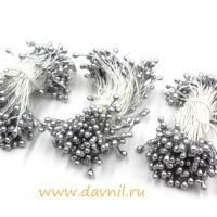 Тычинки для цветов, набор 20 шт в ассортименте (серебряные средние)