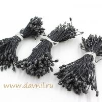 Тычинки для цветов, набор 20 шт в ассортименте (черные в сахаре мелкие)