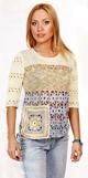 Пуловер с цветочками и квадратами, связанный спицами и крючком